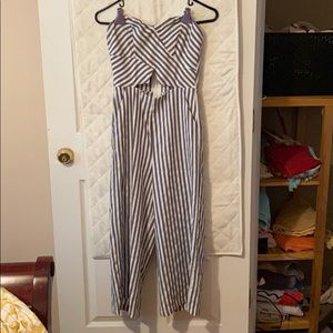BLUE AND WHITE PINSTRIPE JUMPSUIT